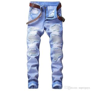 Men's Motorcycle Biker Jeans Blue Pleated Designer Pants Slim Fit Mens Moto Denim Hip Hop Punk Streetwear For Men #6