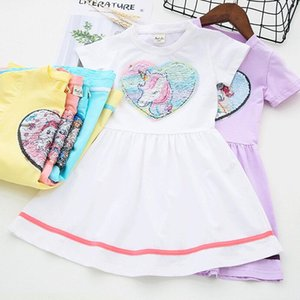 Hot Selling Baby Girls Dress Fashion Sequins Princess Dress 5 Colors Short Sleeve Children Dress For Girl Clothes Vestidos