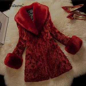 패션 S-6XL을 따뜻하게 오래 간다 칼라와 Schinteon 2018 겨울 모피 코트 재킷 가짜 모피