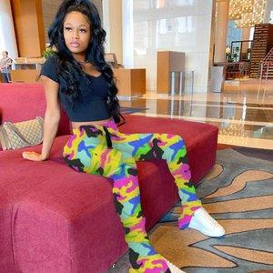 Pantolon Bayan Casual Pantolon Kadınlar Kamuflaj Yığın Sweatpants Slim Fit Orta Bel Bölünmüş Moda Dişi Tozluklar