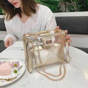 2020 Summer Hasp Fashion New Handbag High Quality Pvc Transparent Women Bag Holographic Square Phone Bag Shoulder Bag K20