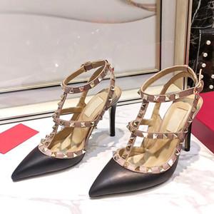 Sandalias de las mujeres de lujo de diseño de la plataforma del tributo sandalias T-correa de los altos talones de las sandalias de señora Shoes zapatos de fiesta 9.5cm con la caja US 4-10