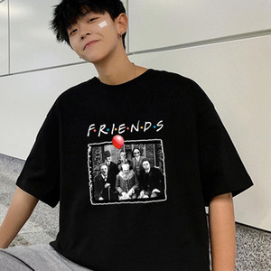Amici Pennywise Michael Myers di Halloween Jason Voorhees maglietta divertente Horror moda divertente uomini TV Top T-shirt da uomo Harajuku