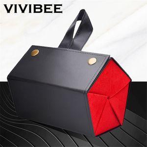 VIVIBEE Mulheres Alta Qualidade 5 Galpões Óculos de sol Bandeja Preto Vermelho Moda Couro PU rolo Case Óculos caixa de exibição