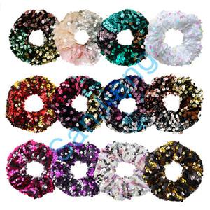 Frauen Reversible Haar Ropes glänzenden Pailletten Scrunchies Glitter Haar-Riegel-Pferdeschwanz-Halter-Baby-Tanz-elastische Haarbänder Applikationen Schnelle D3905