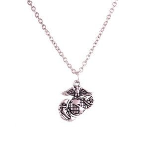 Vintage Eagle Globe And Anchor Pingente Marine Corps Link Chain Necklace para homens e mulheres
