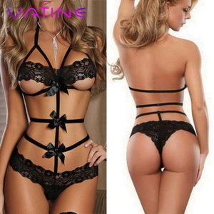 Vatine interior erótica Sex Toys para as Mulheres Sexy Underwear Babydoll Lace Bow Vestido Nightwear G-string Adulto produtos Pijamas