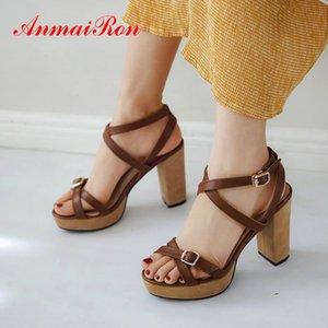 ANMAIRON toka kayış rahat hakiki deri 2020 yeni yaz kadın Ayakkabı temel moda Platformu Kare topuk sandalet kadın