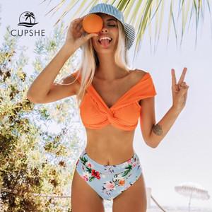 CUPSHE Naranja Giro floral del bikini de talle alto Establece atractivo del hombro traje de baño de dos piezas traje de baño de las mujeres 2019 de la playa del bañador