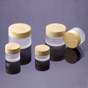 5G 10G 15G 30G 50G Frost verre de bouteilles en plastique en bambou couvercle en verre Pot crème Bouteille vide pot cosmétique containersNotre