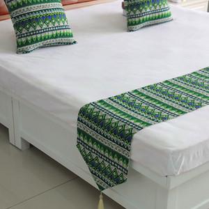 Stile nazionale copriletto verde di alta qualità Blue Bed Runner Buttare Bedding regina letto king Flag Asciugamano casa decorazione dell'hotel