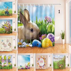 Ostern Duschvorhang 3D Kaninchen Ei gedruckt Polyester-Duschvorhang wasserdichtes Badezimmer 180 * 180cm Vorhang Ostern Badezimmer-Dekor