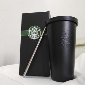 جديد الكلاسيكي ستاربكس الفولاذ المقاوم للصدأ القدح القدح سطح المكتب مع فنجان القهوة غطاء الموضة كوب زوجين سيبي