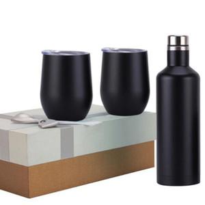 Set di bicchieri da vino Set da 3 pezzi Set di bicchieri da regalo in acciaio inossidabile Doppia parete isolata con una bottiglia Due bicchieri di vino con confezione regalo