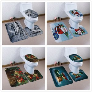 3pcs / set Natal Toilet Seat Cover Bath Mats anti-derrapante banho Tapetes Set WC Duche Quarto Tapete Pad Xmas Decoração quente GGA2798