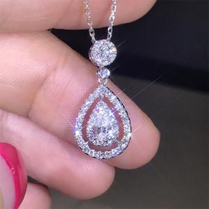 Nuova Victoria Spumante gioielli di lusso 925 sterling silverrose oro riempimento goccia acqua bianco topaz pera cz diamante donne collana a catena pendente