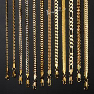 """Collar para las mujeres de los hombres Gold Filled cuerda Figaro serpiente Cuban Link Cadena para mujer para hombre de moda Hip Hop joyería 18-24"""" GNN2"""