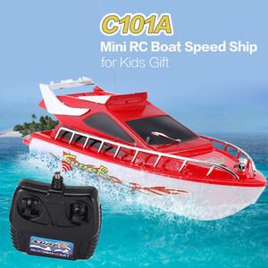 C101A niños Mini RC Radio de alta velocidad carreras de botes de velocidad del barco Juguetes para regalo de los niños juguetes de simulación de control remoto modelo de barco