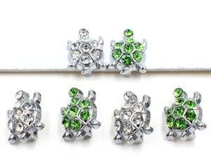 50 teile / los 8mm klar grün strass meeresschildkröte diacharme fit für 8mm DIY Zubehör schlüsselanhänger armband armband