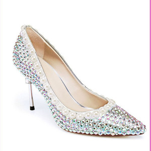 2020 talon haut strass chaussures Lady Performance Afficher AB cristal Pompes 8cm demoiselle d'honneur Toe Sexy Brillant Pointu Chaussures banquets