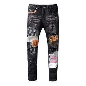 Luxe Jeans Hip Hop Pantalons Jeans Designer Distressed Ripped Biker Jean Slim Fit Moto Denim Jeans Taille 28-40