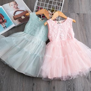 Wholesale 2020 New Girl Dress Back Bow Lace Fluffy Tulle Sundress Sleeveless Princess Dress Baby Clothes E16881