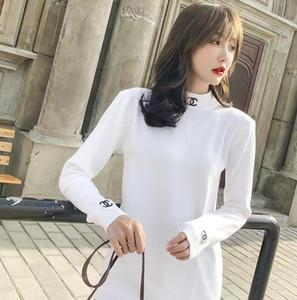 Autumn Winter Women's Knitted Sweater Double C Letter Embroidery Slim High-Necked Long-Sleeved Fashionable British College Style Sweaters