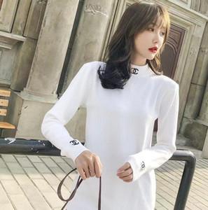 Suéter de punto de doble C Carta de otoño / invierno de las mujeres del bordado delgado de cuello alto de manga larga de moda de la universidad británica de estilo Jerseys