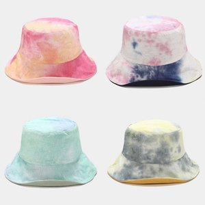 Hat women new colorful tie-dyed plastic big eaves sun hat ladies fisherman bucket double- sides wear foldable basin caps