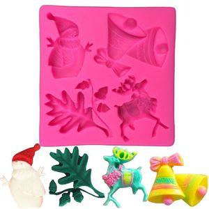 Impresión nieve Hombre ciervos campana sobre la pasta de azúcar de Navidad Azúcar de silicona Craft Fimo Decoración de Pasteles utensilios de cocina