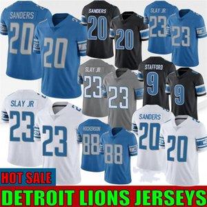 20 Barry Sanders Homens Football Jersey 88 T.J. Hockenson 9 Matthew Stafford 23 Darius Mate JR 33 Kerryon Johnson costurado 2020 Nova