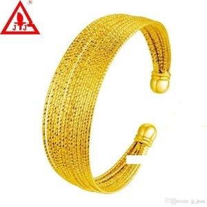 24K amarelo banhado a ouro pulseira de alta qualidade para as Mulheres Homens New Style Lines Hot noiva venda Luxo Vestido Jóias transporte Belas gratuito