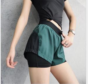 Pantalones cortos deportivos nuevos de doble capa lateral de la mujer, anti-caminar, velocidad, pantalones cortos de ejercicio seco, yoga, correr suelto