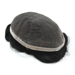 Men Full Lace Toupee Brazilian Human Remy Hair Wig For Males Comfortable As Like Own Hair(Full Lace)