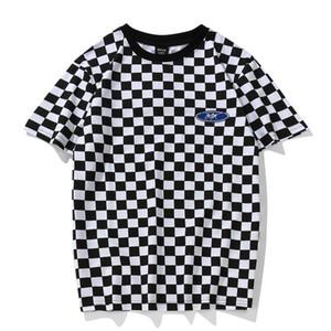 Youthcodes 격자 무늬 T 셔츠 클래식 흑백 Lattice 기본 목화 O 넥 패치 워크 자수 체스 T 셔츠 긱 Dark Souls Y19060601