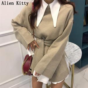 Чужеродные Kitty Стильный Новый зима высокого качества теплые вскользь 2 цвета свитер Outwear Простой Сыпучие Solid Free Pullover Ленивый Стиль Y190828