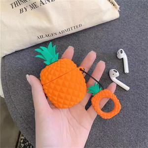 Vente chaude ananas Apple Airpods2 en silicone souple ultra mince bouclier protecteur de cas Ecouteur manches poche pour pods Air Ecouteur