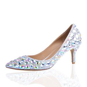 2019 Prata AB cristal de Cinderela Prom Bombas aniversário da cerimónia de casamento sapatos bicudos Toe Calçados nupcial 6cm Heel Middle Size 41