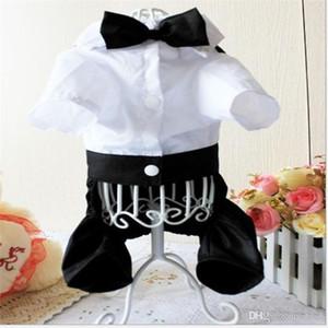 Costume écharpe Vêtements Chiens Pantalon Costume quadrupède Cravate Cravate Pet Supplies Simple Généreux Bouton Tissu noir et blanc 15hjC1