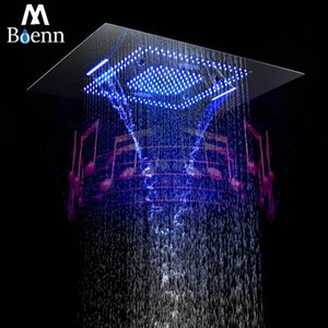 Bluetooth Música Showerhead LED Light Shower Música Waterproof Speaker Showerhead Cachoeira, Misty Banho 304SUS Showers 60 * 80 centímetros