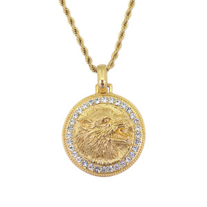 Hip Hop Iced Out Round Wolf Head Pendentif Collier Pour Hommes Or Couleur En Acier Inoxydable Chaîne Strass Colliers Bling Bijoux