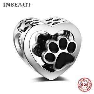 Pandora Style fit Pandora Charms Bracciale Argento originale 925 Carino Black smalto Bear Paw Beads Women 2018 Bella Pet Jewelry Making