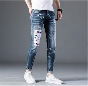 Primavera para hombre Hole Patch pantalones vaqueros rasgados que salpica tinta Lavadas masculino pantalones del lápiz Distrressed Boys de la manera Pantalones