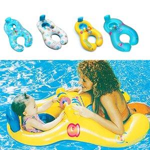 Flotador inflable madre del niño anillo de la natación del bebé círculo círculos Doble Accesorios para Piscinas inflables Ruedas swimtrainer