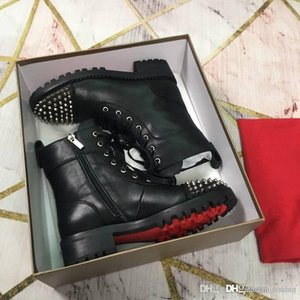 ChristiLoubou CL Melon Spikes Flat Brown Leather Chelseas Boots Red soled shoes Red Bottom Shoes Black Melon Spikes Flat With Original Box