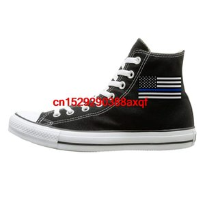 Canvas Shoes Blue Thin Line Flag Classics High-Top Lace Ups Sport Sneakers For Men Women