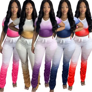 Women Sexy 2 Piece Set Flared Trousers Outfits Designer Gradient Color Long Pants Fold Split Fork Suit