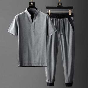 Minglu pied de col Ensembles Hommes (t-shrit + pantalon) Luxe manches courtes à rayures minces Homme Set Fashion Slim Fit taille élastique Pantalons 3XL