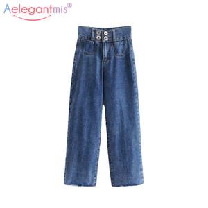Aelegantmis 2019 Vintage Fashion jeans lavados Mulheres Casual Grande Lag Denim Calças Ladies High Street soltos retas calças compridas