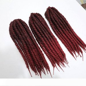 Havana mambo twist Kanekalon synthetic braiding hair 110g 18inch 1B&Burgundy xpression crochet twist jumbo braids hair extensions